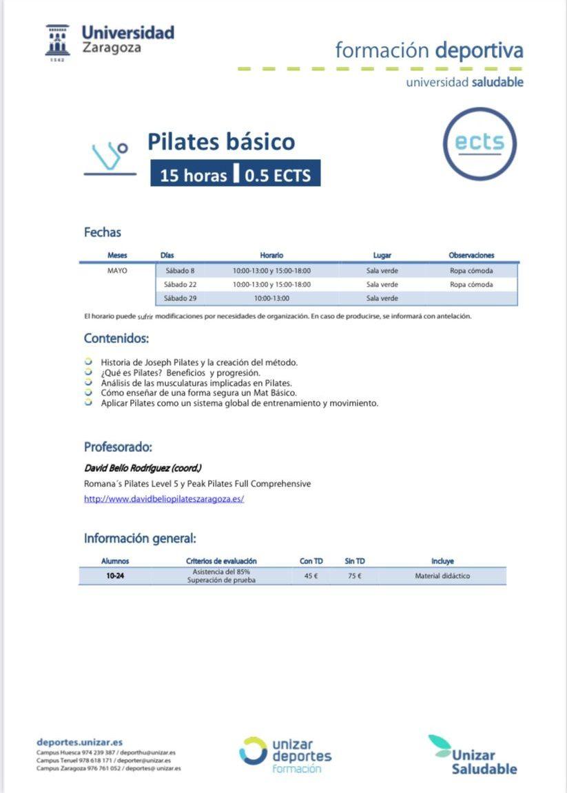 Pilates basico universidad de zaragoza